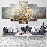 RMRM 5 Gemälde, Kunstmalereien, dekorative Gemälde, Wohnzimmer, hochauflösender Druck, 5 Schlachten, nautische Leinwandbilder, Wandbilder 30x40cm 30x60cm 30x80cm