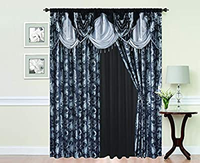 """Golden Rugs Jacquard Luxury Curtain Window Panel Set Curtain with Attached Valance and Backing Bedroom Living Room Dining 112""""X84"""" Each Jana Collection (Black)"""