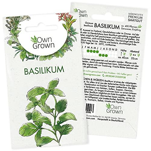 Basilikum Samen: Premium Kräuter Samen zur Anzucht von ca. 400 Basilikum Pflanzen – Saatgut Kräuter für Indoor und Balkon Pflanze – Kräuter Saatgut – Schöne Gartenkräuter Pflanzen von OwnGrown