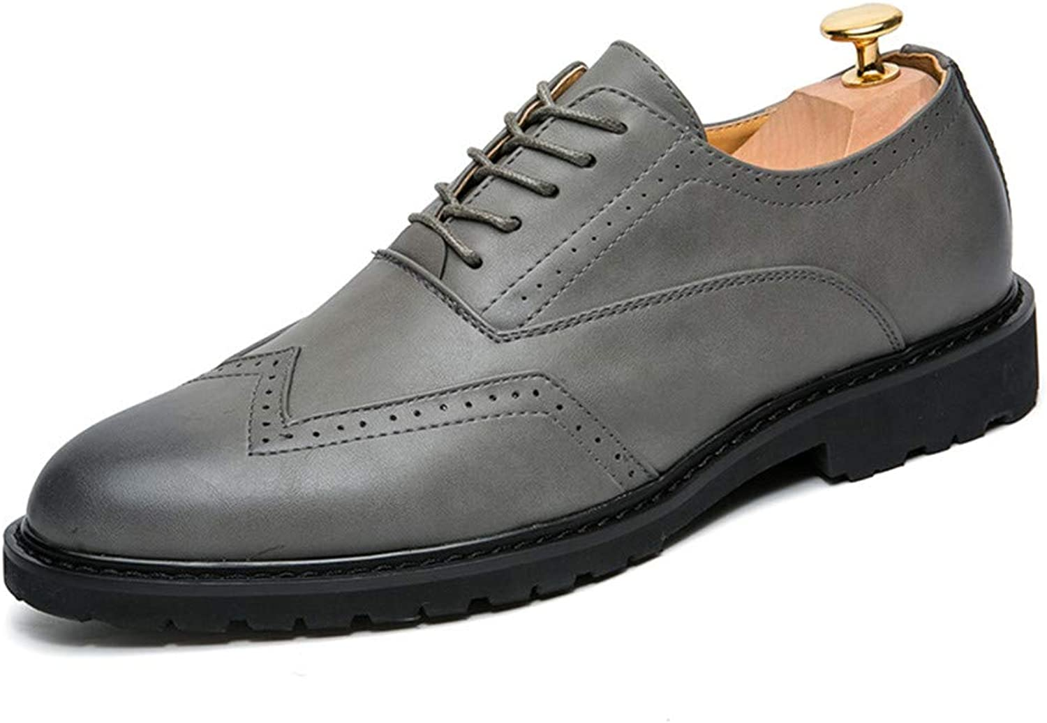 XHD-Men's shoes Men's Classico Business Oxford Casual Fashion PU Leather Anti-Skid Breathable Brogue shoes