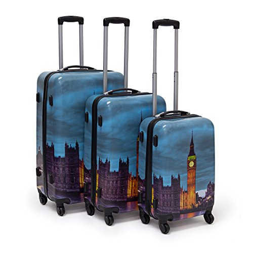 Relaxdays Set 3 Valige da Viaggio, Materiale Plastico e Diversi Motivi, 4 Ruote 360 G.Di Varia Capienza 36 58 90 Litri Moderno Set da Viaggio, Modello Londra