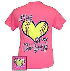 Girlie Girl Originals T-Shirt - My Heart Is On The Field - Softball