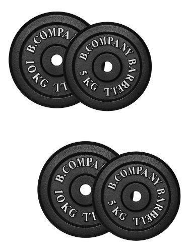 Bad Company Hantelscheiben aus Gusseisen I Gewichtsscheiben 30/31 mm I 30 kg (2 x 5 kg, 2 x 10 kg)