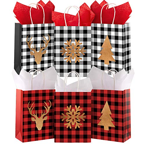 Whaline 24pcs Christmas Gift Bags with Tissue Paper Red Black Buffalo Plaid Kraft Paper Bag Snowflake Reindeer Xmas Tree Candy Treat Bags Reusable Grocery Goodie Bags for Party Favor, 6 Design