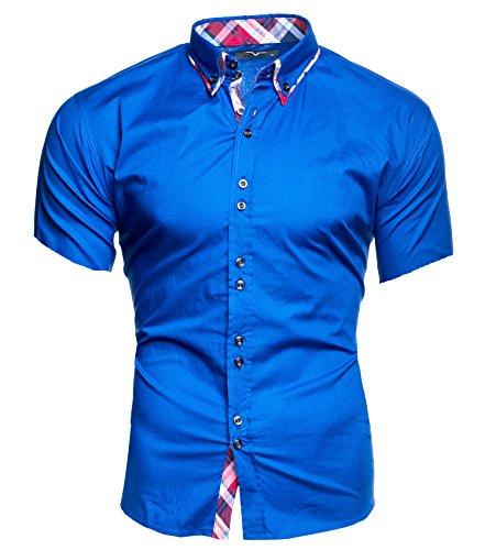 Kayhan Herren Kurzarm Hemd Hawaii Blau (3XL)