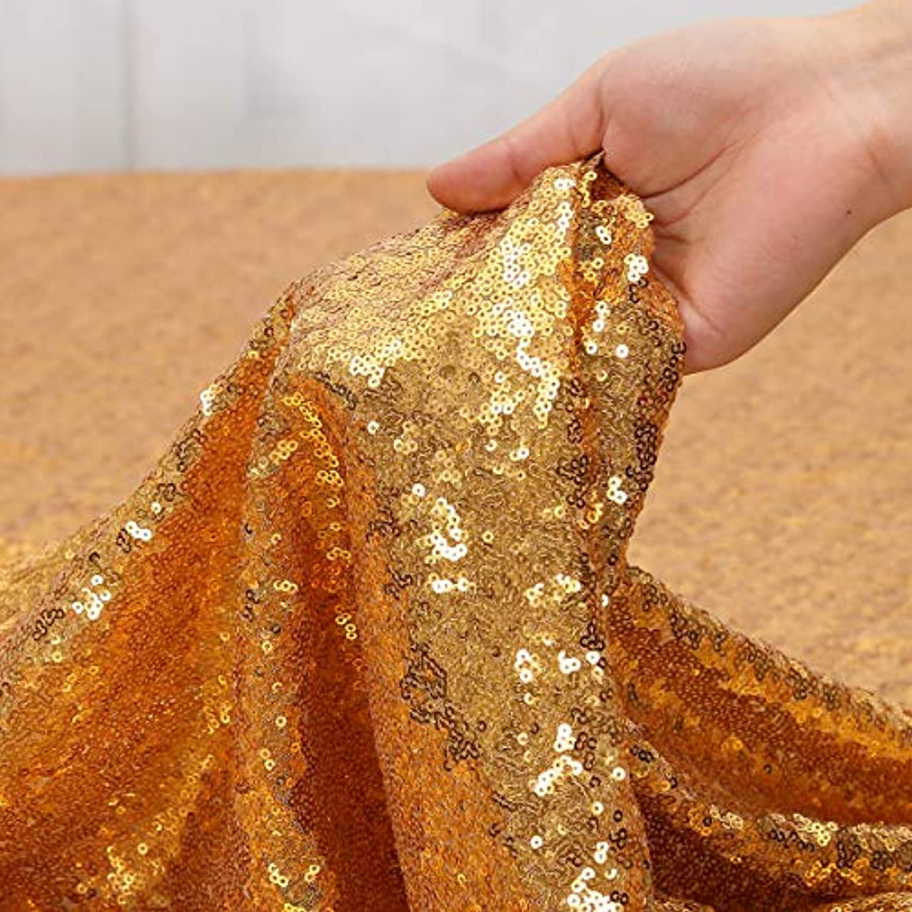 Party Delight Sequin Fabric 2 Yards 6 Feet, Dubai Gold by The Yard, for Tablecloth, Linen, Home Dector DIY