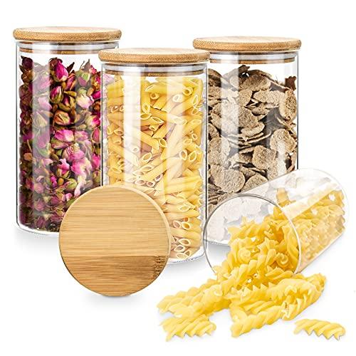 Dusor Vorratsdosen Glas, Glasbehälter mit Deckel Vorratsdosen Luftdicht, 4 * 1.4L Kapazität Aufbewahrungsgläser Küche Vorratsglas, Vorratsbehälter für Gewürze/Spaghetti/Snacks/Zucker/Haferflocken