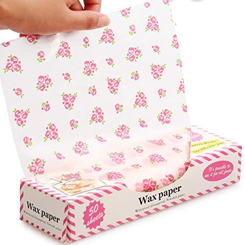 50 piezas de papel encerado, papel de picnic para alimentos, papel a prueba de grasa, papel impermeable seco para hamburguesas de plástico
