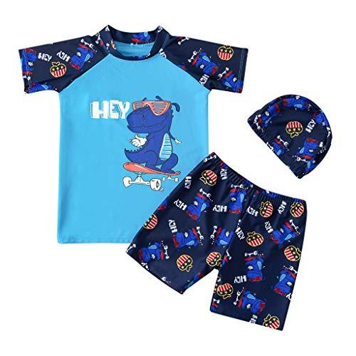 Realde Kleinkinder Jungen Kurzarm T-Shirt Set Cartoon Druckten O-Ausschnitt Badeanzug Freizeit Kurz Hose Badehose Sommer Oberteil for Kinder Jugend Teens Trainingsanzug