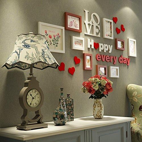 Marcos de fotos Nordic minimalista salón foto pared pasillo pórtico foto marco pared combinación sofá fondo pared marco de la foto renovación del hogarA+ ( Color : Hu white )