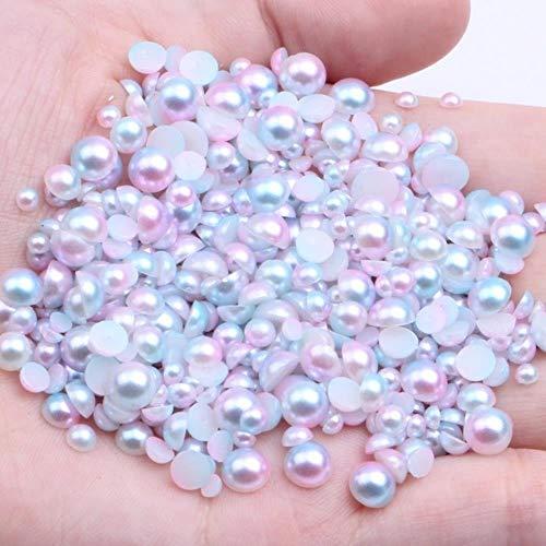 100-1000pcs / lot 3/4/5/6 mm couleur arc-en-ciel demi-rond ABS imitation perles nacrées dos plat Scrapbook perle pour bricolage Nail Making, 01 rose arc-en-ciel, 5 mm 500 pcs