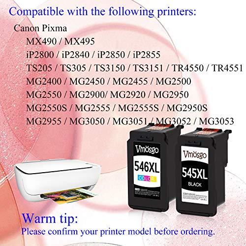 Vmosgo PG-545 CL-546 Cartuchos de Tinta Reemplazo para Canon 545 546 545XL 546XL Compatiable con Canon Pixma MX490 MX495 MG2550S MG2555S MG2950S MG2450 MG2500 MG2550 iP2800 iP2840 (Negro, Tri-Color)