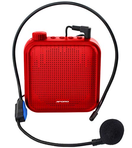 Voice Amplifier 12W Rechargeable PA System (1200mAh) with Wired Microphone for Teachers, Coaches, Tour Guide and more (red)