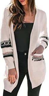 Women Fashion Open Front Knit Cardigan Patchwork Long Sleeve Sweater Pockets Outwear Coat Tops
