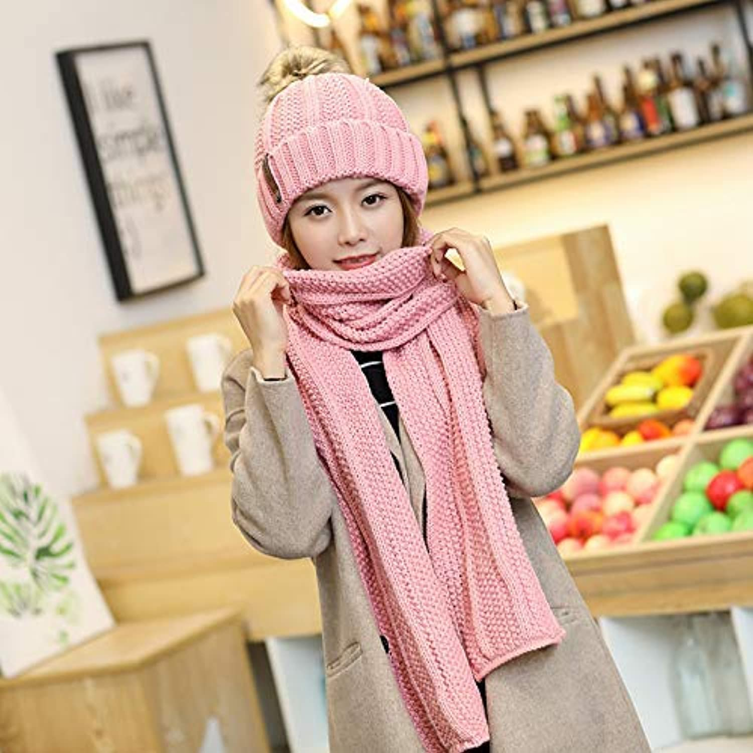 Sports Hat Autumn and Winter Plus Velvet Thick Wool hat Scarf Two-Piece Fashion Wild Warm Knitted Wool Ball hat Female (color   Pink) Outdoor Cap