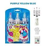 Kit Tie-Dye para niños, 3 colores, botellas de tinte, paños de bricolaje, tela de graffiti, accesorios de bricolaje, camiseta de moda, set de tinte para niños, niñas, niños (púrpura + amarillo + azul)
