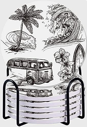 CIKYOWAY Posavasos para bebidas,Surf deporte y estilo de vida ola tabla de surf playa y van bosquejo conjunto de iconos decorativos Ilustración monocromática juego de 6 posavasos con soporte para casa