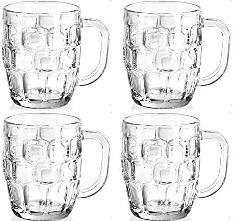 4 Beer Mugs Made in Mexico Mexican Jarro de 570ML Cerveza Piña Pineapple Large Grande Vidrio Glass Jarro Tarro Cervecero