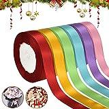Tuofang 6 Color Satin Ribbon, Nastri Colorati, Nastro di Raso in Seta Tessuto Doppia Facci...