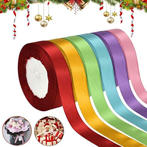 Tuofang 6 Color Satin Ribbon, Nastri Colorati, Nastro di Raso in Seta Tessuto Doppia Faccia per Bomboniere Regalo Matrimonio Confezione Regalo Bomboniere Natale Decorazioni (2cm*22m)
