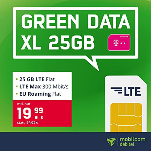 mobilcom-debitel Telekom green Data XL - 25 GB LTE Internet-Flatmit bis zu 300 MBit/s, EU-Roaming-Flat