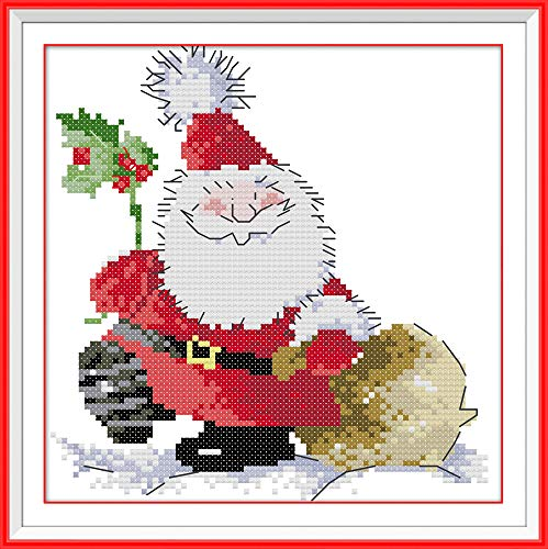 Cross Stitch Kits, Santa Claus Christmas Awesocrafts Easy Patterns Cross Stitching Embroidery Kit Supplies, Stamped or Counted Options for Adults Beginners Kids Gifts (Santa Claus, Counted)