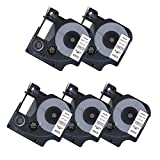 5 Pack Compatible DYMO D1 45013 S0720530 Black on White