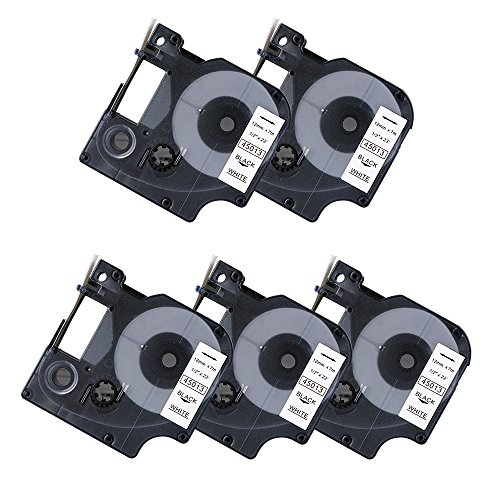 5 Pack Compatible DYMO D1 45013 S0720530 Black on White Label Tape for DYMO LabelManager 160 220P 280 PnP 360D 420P (1/2