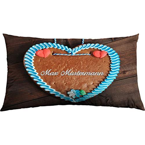 Manutextur Kissen mit Namen - Motiv Lebkuchenherz - viele Motive - Kissenhülle inklusive Füllung - Größe 30x50 cm - personalisiert - persönliches Geschenk mit Wunsch-Motiv und Wunsch-Name