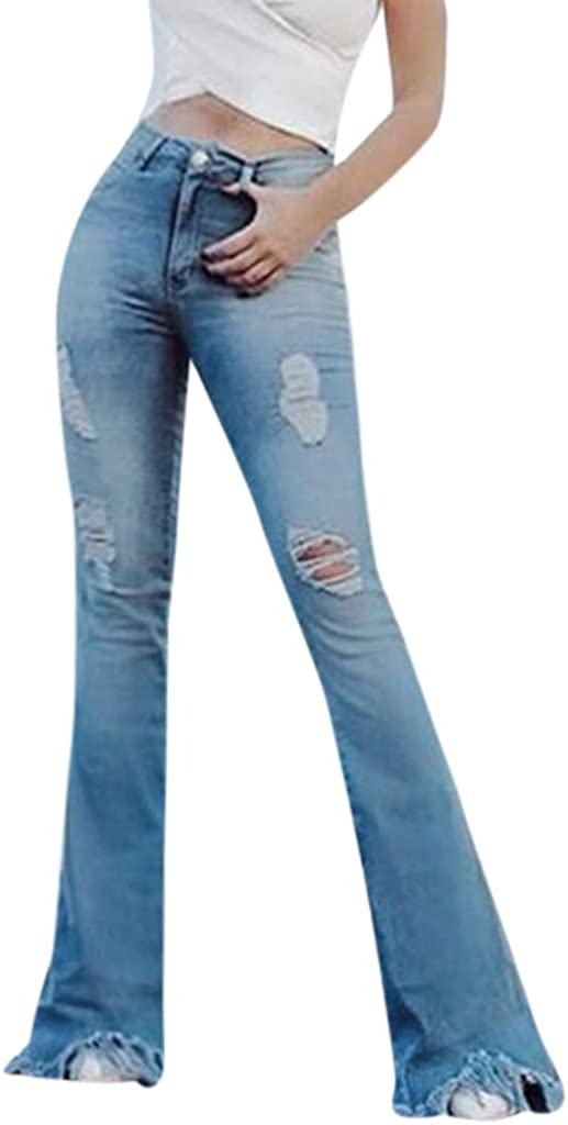 Flare Jeans for Women,Women's Casual High Waist Ripped Jeans Button Tassel Pants Trousers Bell-bottom Pa