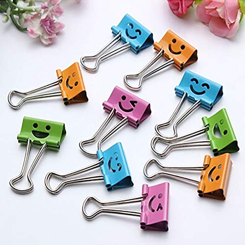 Iulove 10 Pcs Smile Metal Clip Cute Binder Clips Album Paper Clips Stationary Office
