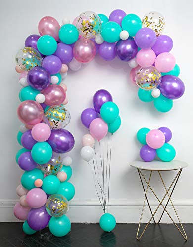 Unicorn Balloons Arch 114pcs & Garland Kit (Gold Confetti .Pearlescent Pink Purple.Light Purple.Mint Green.White.)Tying Tools+Decorating Strip+Points stickers+Flower Clips+Ribbon .Shower Unicorn Party
