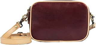 Women Vegetable Tanned Leather Double Zip Around Wallet Purse Shoulder Bag Handbag