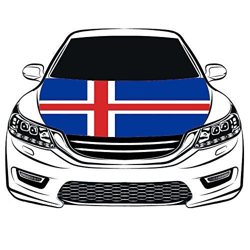 De Republiek IJsland Vlag Auto Hood Cover 3.3X5FT 100% Polyester, Motorvlag, Elastische stoffen kunnen worden gewassen, Auto Bonnet Banner