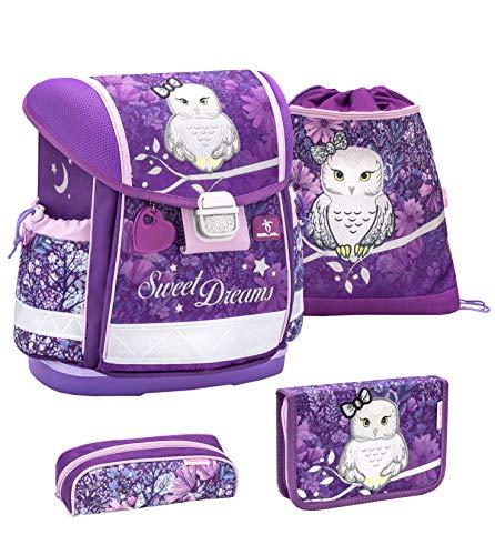 Preisvergleich Produktbild Belmil Schulranzen Set 4 - teilig ergonomischer Schulranzen Mädchen 1. klasse 2. klasse 3. klasse - Super Leicht 860-950 g / Grundschule / Eule,  Owl / Lila,  Purple (403-13 Sweet Dreams)