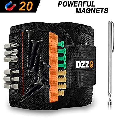 Magnetic Wristband with Super Strong Magnets for Holding Screws, Nails, Drill Bits - Best Cool Gift for Men/DIY Handyman/Dad/Him - DZZ DG3190 Magnetic Wristband (20 strong magnets) from DZZ