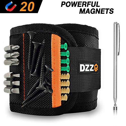 Magnetic Wristband with Super Strong Magnets for Holding Screws, Nails, Drill Bits - Best Cool Gift for Men/DIY Handyman/Dad/Him - DZZ DG3190 Magnetic Wristband (20 strong magnets)
