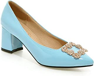 BalaMasa Womens APL11601 Pu Block Heels