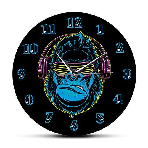 Reloj de Pared Gorila Divertido Escuchar música en Auriculares Reloj de Pared Moderno Reloj de Pared silencioso sin tictac Reloj de Pared con Estilo DJ Decoración para el hogar