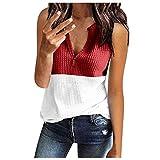 Aniywn Womens Waffle Knit V Neck Tank Tops Summer Casual Sleeveless Shirts Loose Blouses Color Block Tank Tops