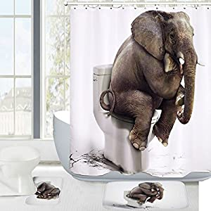 Amagical Elephant Digital Printing 15 Piece Bathroom Mat Set Shower Curtain Set Bathroom Mat Contour Mat Anti Bacterial Waterproof Polyester Shower Curtain with 12 Hooks