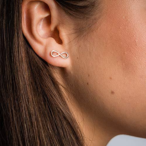 Made by Nami Filigrane Infinity Ohr-Stecker aus Edelstahl in Rosé-Gold - Ohrringe Damen-Schmuck - Geburtstagsgeschenk für Frauen und Mädchen - Unendlichtkeits-Zeichen Rose-Gold