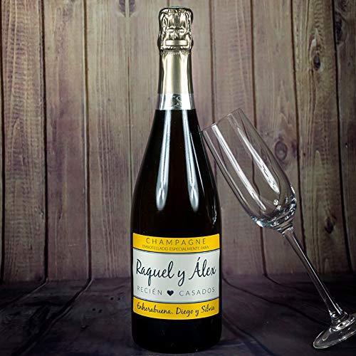 Regalo personalizable para bodas: botella de champán personalizada con los nombres de los novios y la dedicatoria que tú quieras