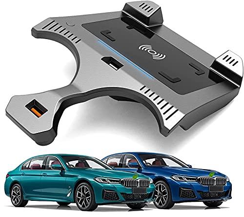Placa carga inalámbrica para automóvil,para BMW 5 Series G30 G31 2018-2021 Todos los modelos Accesorios Cargador inalámbrico para automóvil con QC3.0 USB Qi 15W MAX Cargador inalámbrico para vehículos