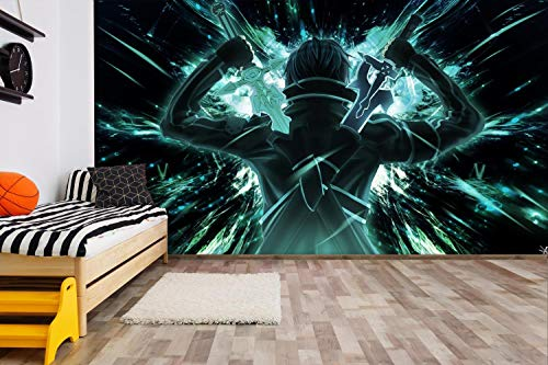 ZXJWZW Sword Art Online 3D Drucken Anime Wallpaper Mural Wandbild Tapeten Karikatur Cosplay Wandgemälde Wohnzimmer Schlafzimmer Büro Flur Dekoration Wanddeko,200Cmx140Cm(W×H)