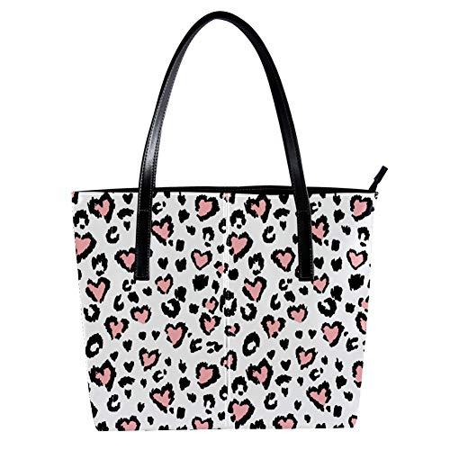 Damen-Handtaschen mit Leoparden- oder Jaguar-Aufdruck, weiches Leder, Henkeltasche für Arbeit, Reisen, große Kuriertasche