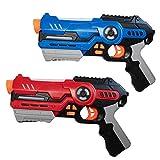 Juego de 2 pistolas láser, juego para niños a partir de 8 años, indicador de lente, con modo de batalla y alcance de hasta 20 m (rojo/azul) (juego de 2/rojo y azul)