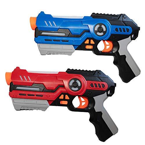 Laser Tag Game Set con 2 pistole laser – Gioco per bambini a partire da 8 anni di età, indicatore di lenza con modalità battaglia e portata fino a 20 m (rosso/blu) (set da 2/rosso/blu)