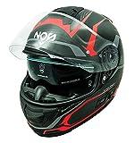 NOS Helmets NS07F0MEDR Casco da moto integrale in fibra MFC. Omologato ECE22-05, Douglas Red, ME