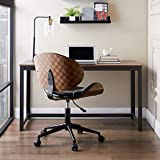 Volans Home Office Chair, Modern Bentwood and Leather Upholstery Armless Swivel Desk Chair with Casters Wheels, Adjustable Height Task Chair, Black